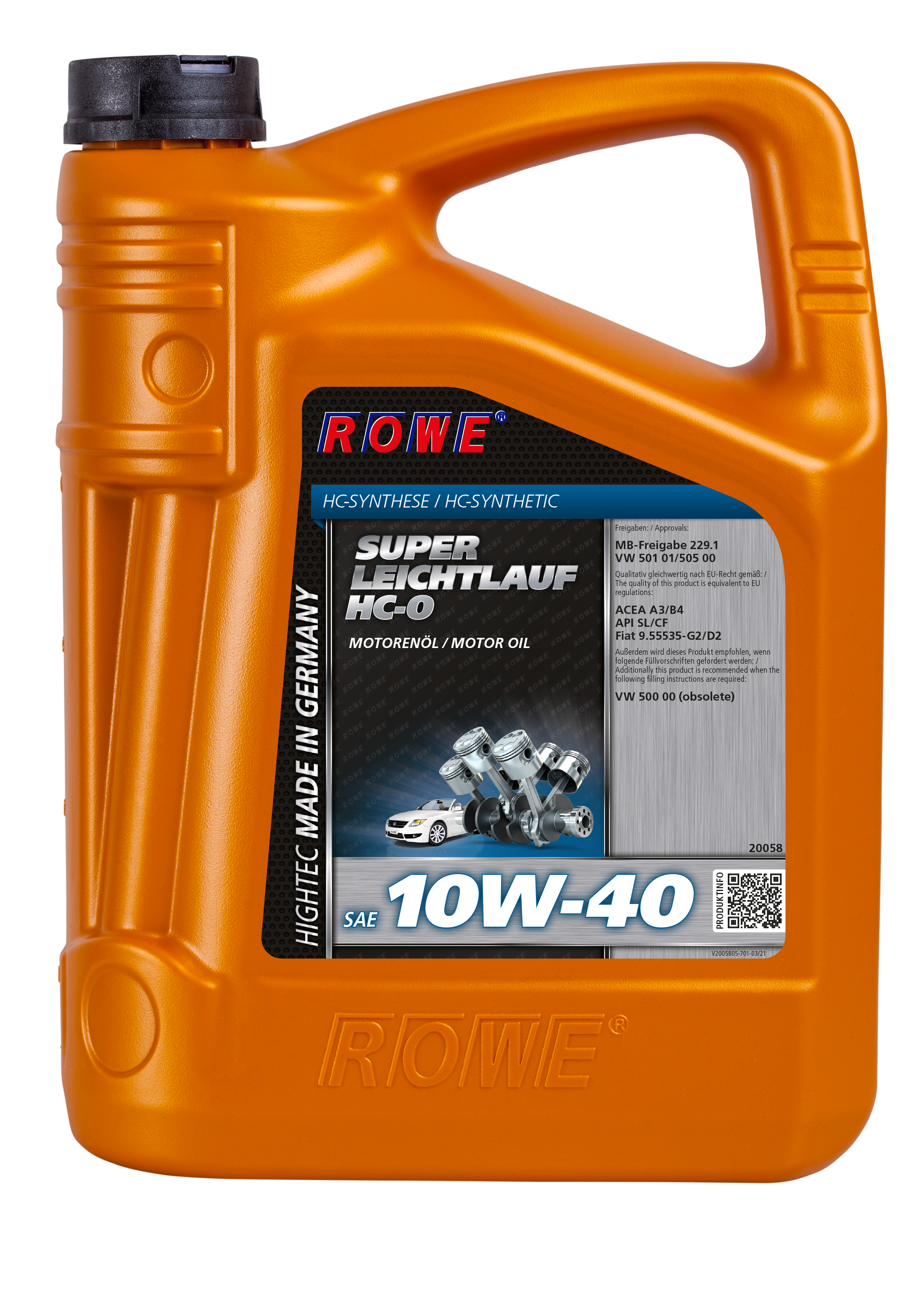 Масло моторное синтетическое HIGHTEC Super Leichtlauf HC-O SAE 10W-40, (ROWE) кан. 5л., 20058-0050-03