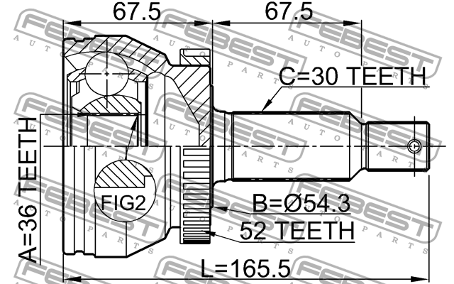 1210-SFCLA52 ШРУС НАРУЖНЫЙ  FEBEST